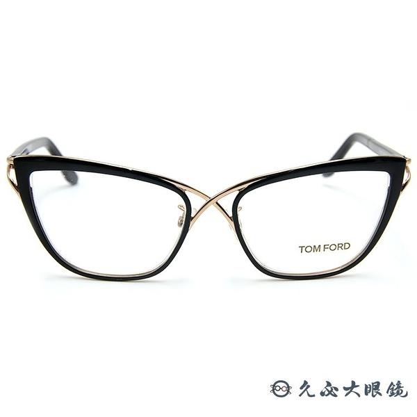 TOM FORD 眼鏡 TF5272 (黑-金) 8字交叉框面 近視眼鏡 久必大眼鏡