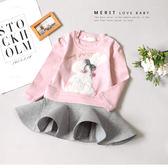 韓版甜美兔兔蝴蝶結毛球澎澎裙小洋裝 太空棉 球球 毛絨 可愛 長袖 秋冬 女童洋裝 哎北比童裝