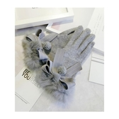 手套女冬天羊絨兔毛可愛韓版學生加絨厚保暖觸屏薄騎開車羊毛手套-ifashion