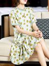 短袖洋裝連身裙大碼L-4XL趣味不規則圓點清爽圓領百褶裙擺桑蠶絲連身裙D303依佳衣