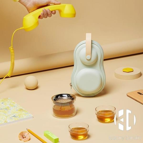 玻璃隨身裝2人茶具套裝便攜戶外旅行功夫多色茶具【Kacey Devlin】