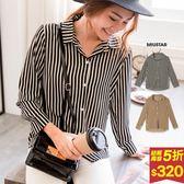 ★秋裝上市★MIUSTAR 復古直條紋微透雪紡襯衫(共2色)【NF4680LZ】預購