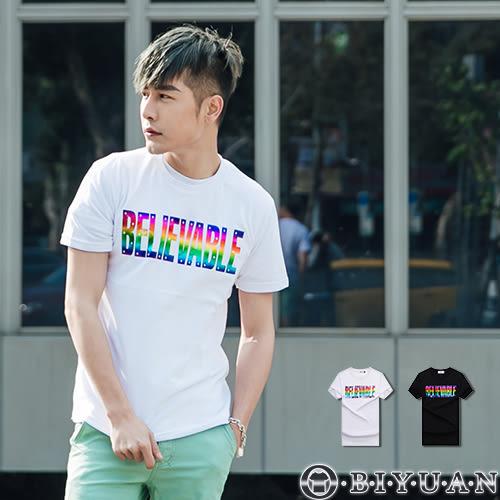 短袖上衣【JG7372】OBIYUAN 金屬彩虹BELIEVABLE雷射燙印短袖T恤共2色
