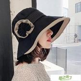 遮陽帽漁夫帽子女夏正韓出游遮陽帽防曬遮臉大沿花朵日系太陽帽~ 出貨~