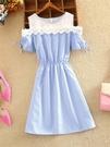 短袖洋裝-夏季新款小香風溫柔超高收腰顯瘦連身裙子很仙的法國小眾流行