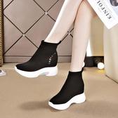 襪子鞋女秋季百搭高幫內增高女鞋加絨運動休閑老爹鞋冬季短靴 錢夫人