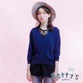 betty's貝蒂思 開釦短版針織罩衫(藍色)