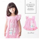 純棉 可愛兔兔姊妹蝴蝶結荷葉邊格紋背心上衣 無袖 棉麻 粉色 童裝 哎北比童裝