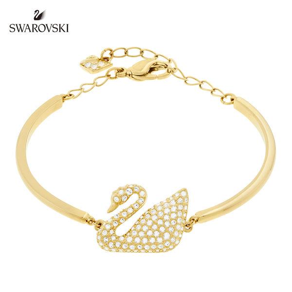施華洛世奇 Swan 經典鍍金天鵝水晶手鐲