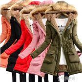 秋冬韓版中長款棉衣女大毛領外套加絨加厚寬鬆棉襖『小宅妮時尚』
