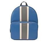 【MICHAEL KORS】灰白條紋硬殼皮革後背包(大)(淺藍) 37H7LWRB3T SBL
