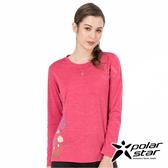 PolarStar 女 麻花吸排圓領長袖衣『玫瑰紅』 P19256 T恤 上衣 女版 休閒 戶外 登山 印花