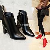 短靴女  高跟鞋女短靴粗跟尖頭馬丁靴百搭英倫風踝靴女鞋子潮  瑪奇哈朵