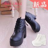 Dingle丁果ღ暢銷款~韓版百搭厚底粗跟短靴  黑色