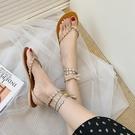 長款夾趾涼鞋 女2020新款波西米亞度假風綁帶平底鞋夏季夾趾羅馬鞋 JX1497『優童屋』