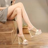 2020夏季新款超高跟坡跟涼鞋鬆糕厚底女士涼拖性感網紗夜店女拖鞋 『歐尼曼家具館』