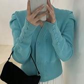 針織開衫V領針織衫女外穿寬鬆秋冬新款長袖開衫上衣修身洋氣短款毛衣外套 韓國時尚