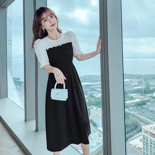 洋裝連身裙S-XL法式泡泡袖方領連衣裙刺繡蕾絲拼接假兩件氣質顯瘦G565B-6033.胖胖唯依