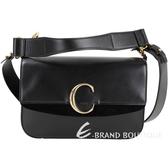 CHLOE C Bag 中型 光滑小牛皮拼接麂皮肩背/手提包(黑色)1930035-01
