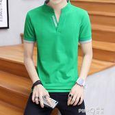 個性t恤男夏裝新品純棉Polo衫男士短袖時尚潮牌休閒帶有領子體恤  【PINKQ】