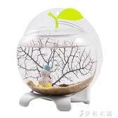 奇溢自然桌面生態魚缸自帶過濾LED燈水族箱造景迷你小鬥魚缸家用YYP 伊鞋本鋪