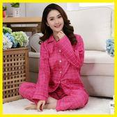 大碼 純棉睡衣女開衫春秋季長袖梭織棉布女居家服套夏季薄款可做月子服