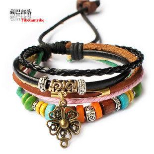 藏飾韻味複古時尚另類多層皮手鏈