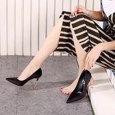 高跟鞋子 細跟尖頭防水臺淺口鞋《小師妹》sm412