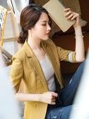 小西服女裝條紋西裝外套女春裝時尚氣質修身西服韓版休閑中袖小西裝F062B依佳衣