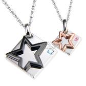 情人對鍊 正白K飾「星星的約定」項鍊 鋯石*單個價格*附鋼鍊