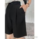 五分西裝短褲女夏外穿寬松薄款高腰半褲垂感顯瘦闊腿直筒港味中褲 快速出貨