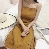 洋裝連身裙-韓版小清新中長款波點吊帶裙潮夏秋新款性感露背打底裙子連身裙女Y25756