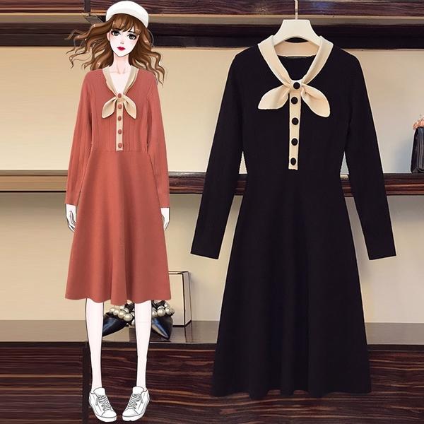 第二件4折 韓國風時尚大碼蝴蝶結針織毛衣長袖洋裝
