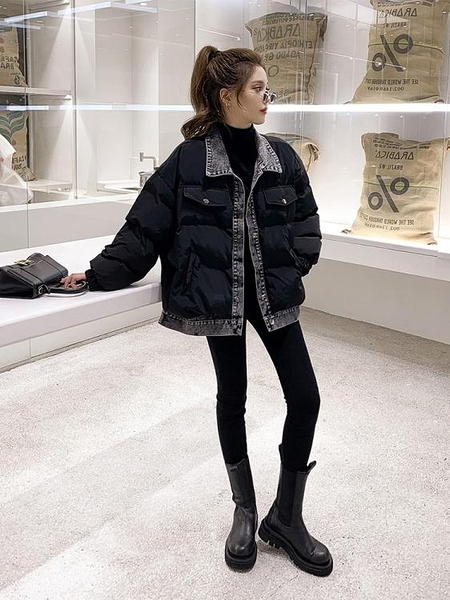 牛仔拼接棉服外套女冬季新款港風小個子減齡保暖輕薄黑色棉衣 優拓