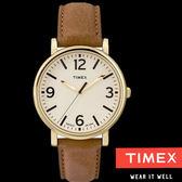 TIMEX 天美時 復古大錶面金框數字駝色皮帶錶x40mm 冷光夜光面板 TXT2P527 公司貨|名人鐘錶高雄門市