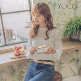 東京著衣【YOCO】法式女孩花朵刺繡蕾絲上衣-M.S.L(170383)