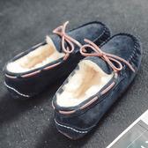 豆豆鞋女2019新款秋冬季毛毛加絨百搭時尚韓版外穿平底孕婦棉瓢鞋