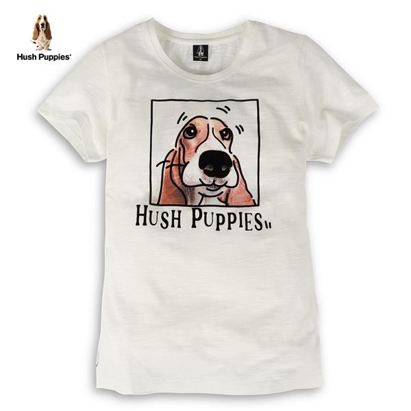 Hush Puppies T恤 女裝可愛植絨印花狗竹節棉T