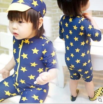 小星星連身泳衣 沖浪服 防曬泳衣 附泳帽   寶寶泳衣 橘魔法 玩水褲 現貨 童 嬰兒泳衣