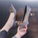 高跟鞋女細跟2021年新款設計感氣質小眾伴娘鞋婚紗單鞋女日常中跟 快速出貨