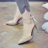 春季新款韓版中空一字扣單鞋女黑色性感細跟百搭女士高跟鞋子 【店內再反618好康兩天】