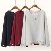 棉麻 盤釦下襬刺繡中式上衣-多尺碼 獨具衣格