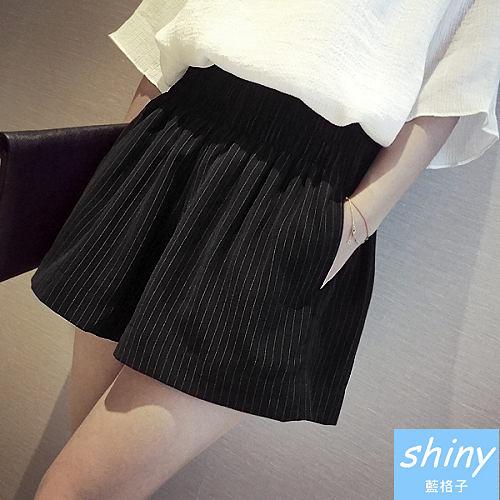 【V1784】shiny藍格子-纖瘦巧思‧條紋高腰鬆緊寬鬆闊腿短褲