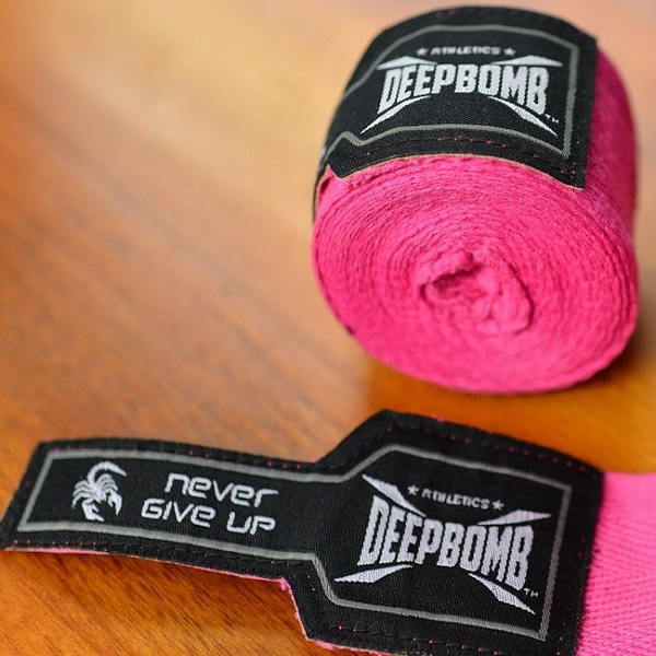 『VENUM旗艦館』DEEPBOMB 原裝進口BOXING專業拳擊手綁帶~桃粉黑色 手綁帶 純棉 無彈性 2.5米