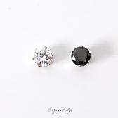 磁鐵耳環 6MM水鑽鋯石 奢華耀眼圓形 基本款式不分男女 柒彩年代【ND257】單顆售價