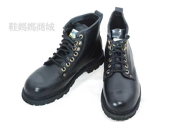 【鞋媽媽】[男女]全新真皮防滑*KS黑色7孔短靴*鋼頭鞋*工作鞋*ks008