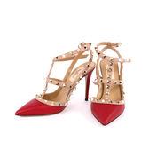 【Valentino】羊皮尖頭金鉚釘2環ROCKSTUDS高跟鞋 (紅+膚色邊 ) JW2S0393VOD S39