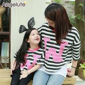 親子裝 條紋 短版 上衣 T恤 短袖 母女裝 媽媽款 Augelute 47141
