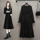 M-4XL 大碼長袖洋裝 連身裙 長裙新款洋氣顯瘦遮肚減齡連身裙閨蜜裙 R028-B 胖丫