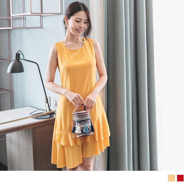《DA6823-》純色雙層魚尾波浪裙襬雪紡洋裝 OB嚴選